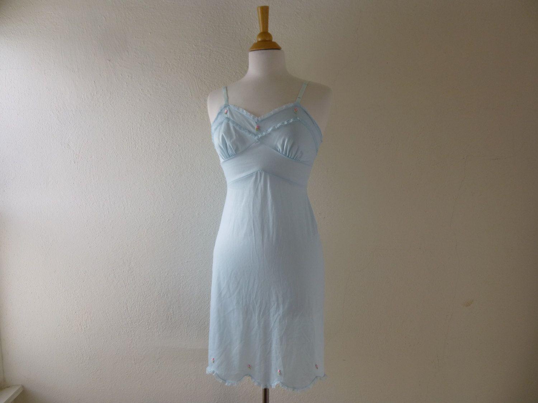 vintage 70s slip light blue lace lingerie slip dress clothing XS