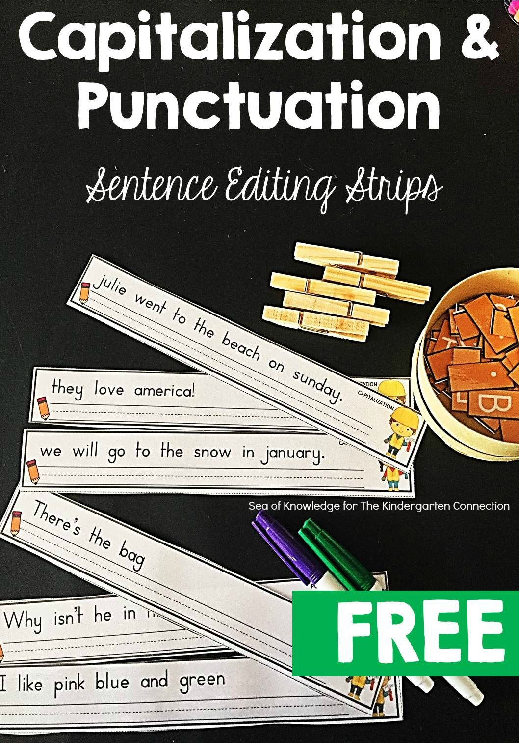 sentence editing strips writing punctuation activities kindergarten writing writing lessons. Black Bedroom Furniture Sets. Home Design Ideas