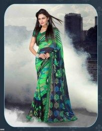 Green Color Beautiful & Elegant Print Pattern Traditional Saree Of Georgette Fabric