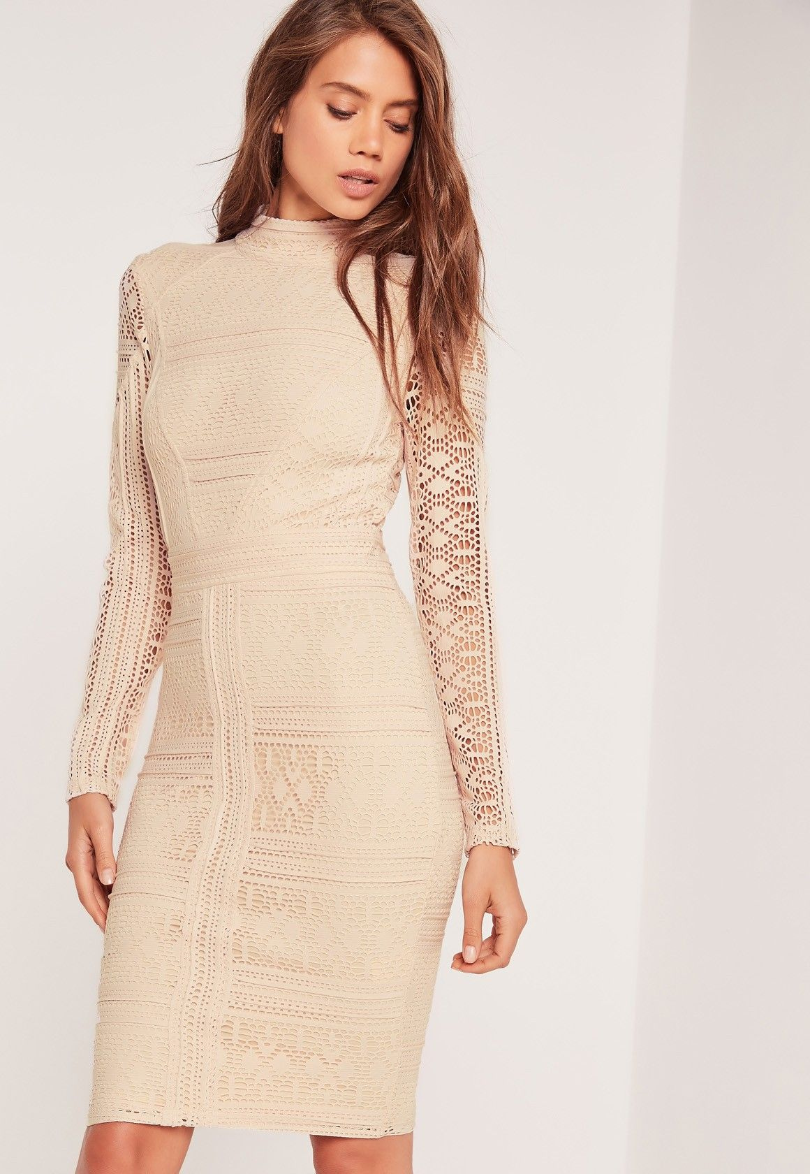 b73e9fc822232 Missguided - Lace Long Sleeve High Neck Midi Dress Nude | Places to ...