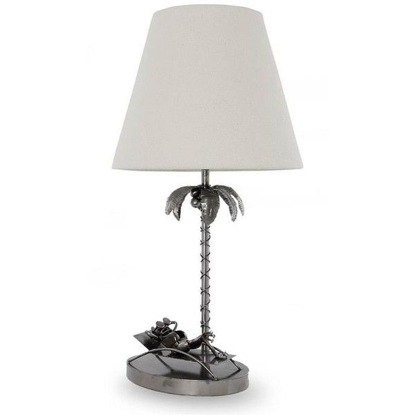 NOVICA Repurposed Auto Parts Table Lamp With Palm Tree And Frog ($93) ❤  Liked On Polyvore Featuring Home, Lighting, Table Lamps, Home Decor, ...