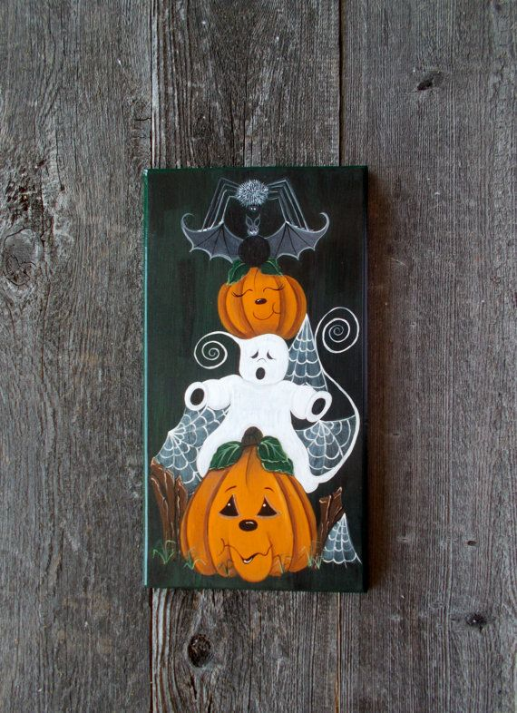 4 Wood Cut Out Sign Country Primitive Halloween Pumpkin Cat Witch Bat Ghost