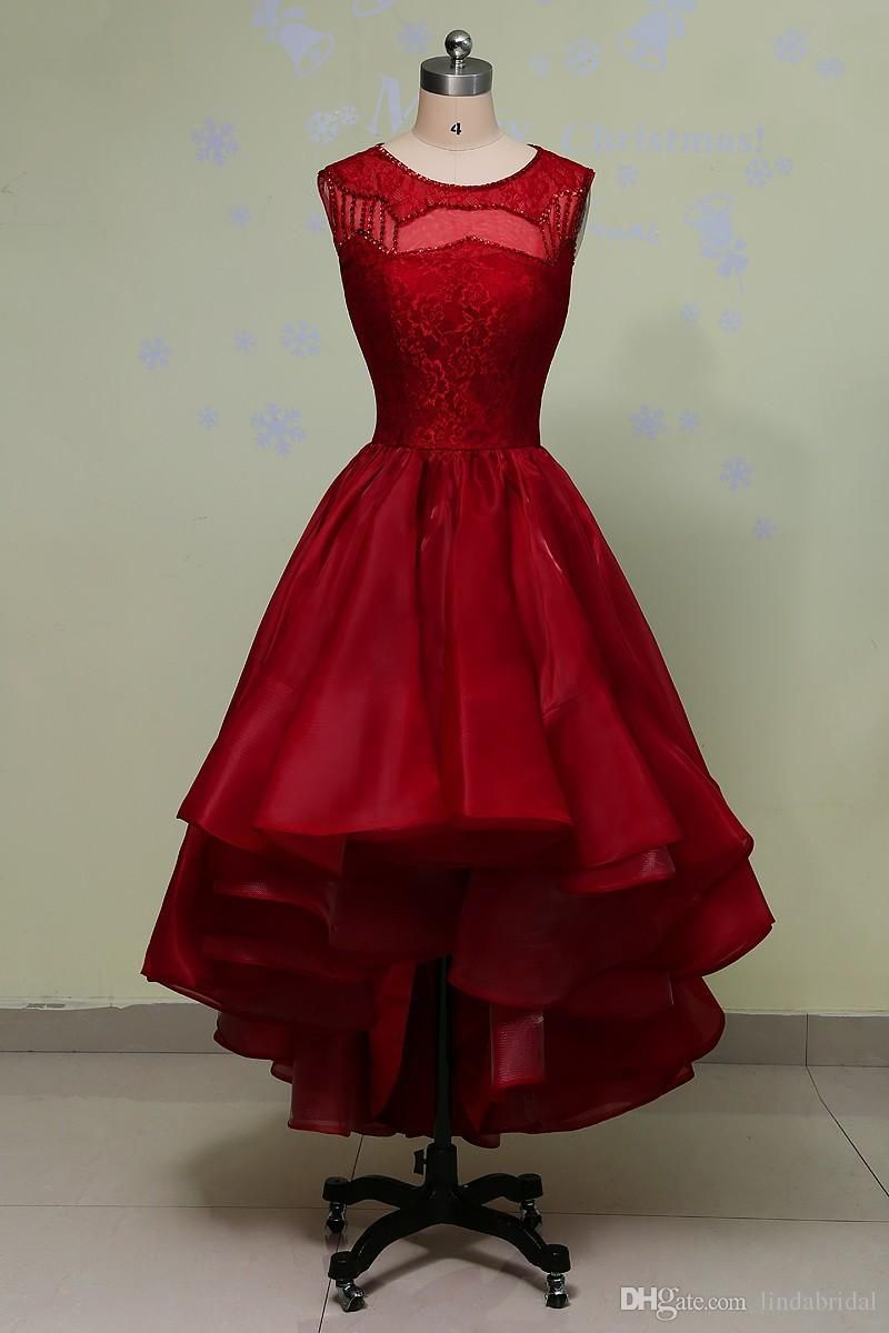 Real images organza hi lo prom dress red jewel neck beads tea