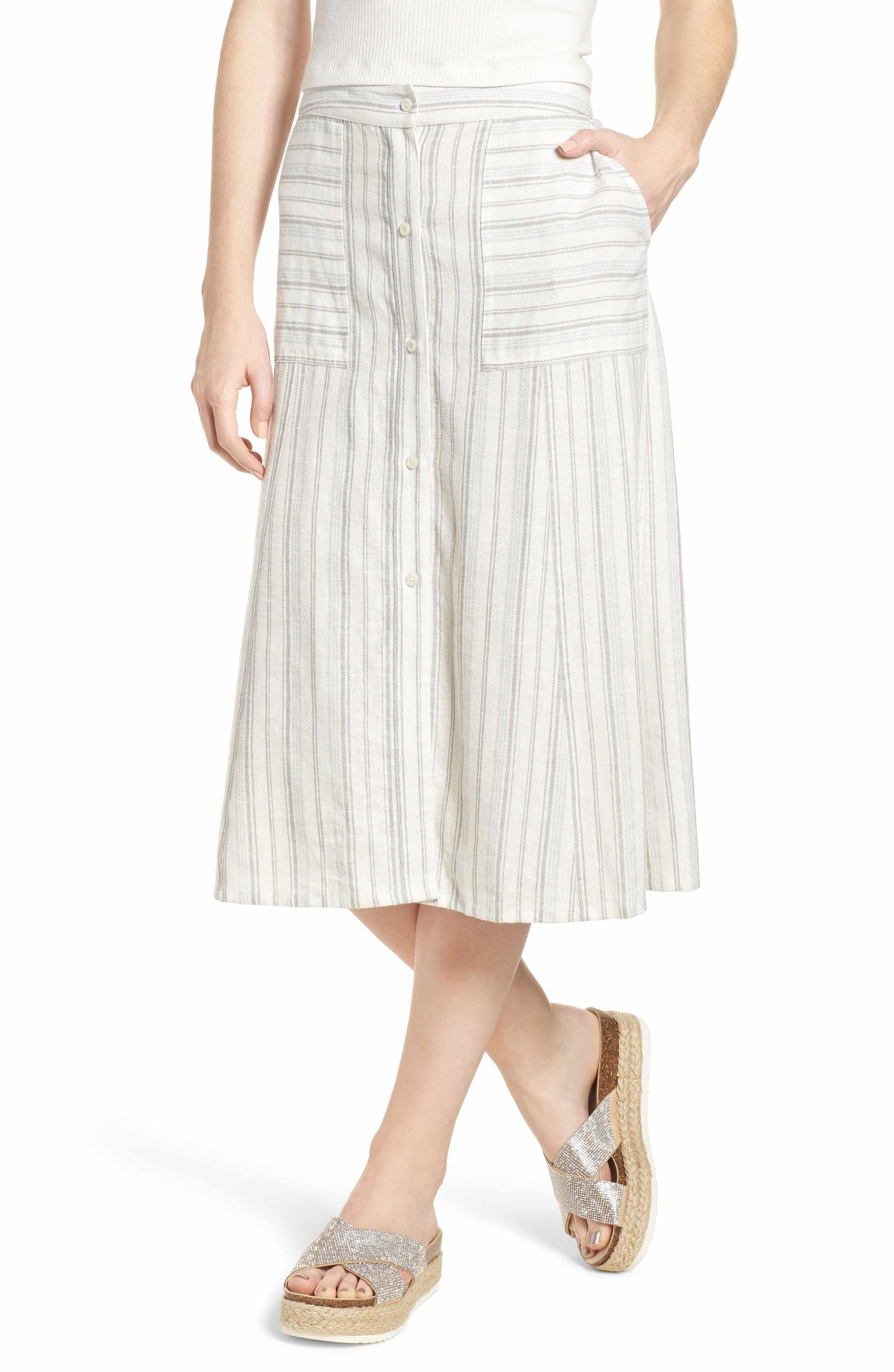 Bp stripe linen blend midi skirt midi skirt striped