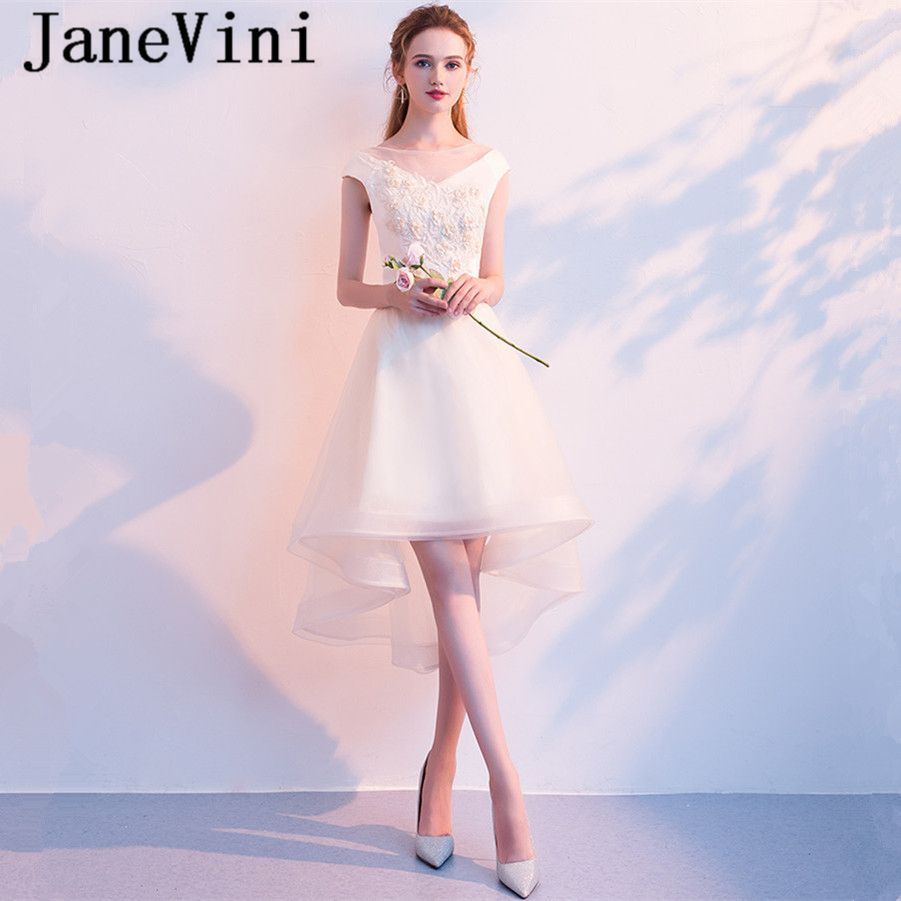 abe2463588f05d JaneVini High Low Champagne Tulle Bridesmaid Dress 2018 A Line V Neck Hand  Made Flowers Tea