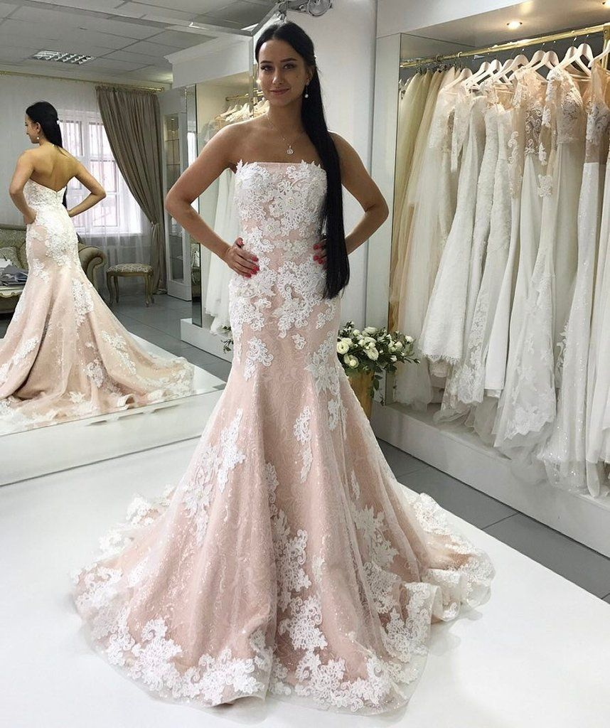 72ce8fcdfdf7 Sexy Strapless Champagne Mermaid Wedding Dress with Ivory Lace Appliques,JD  155