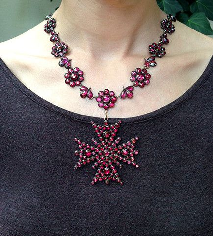 Georgian Era Foiled Garnet Necklace With Detachable Maltese Cross. Antique. @ bell and bird