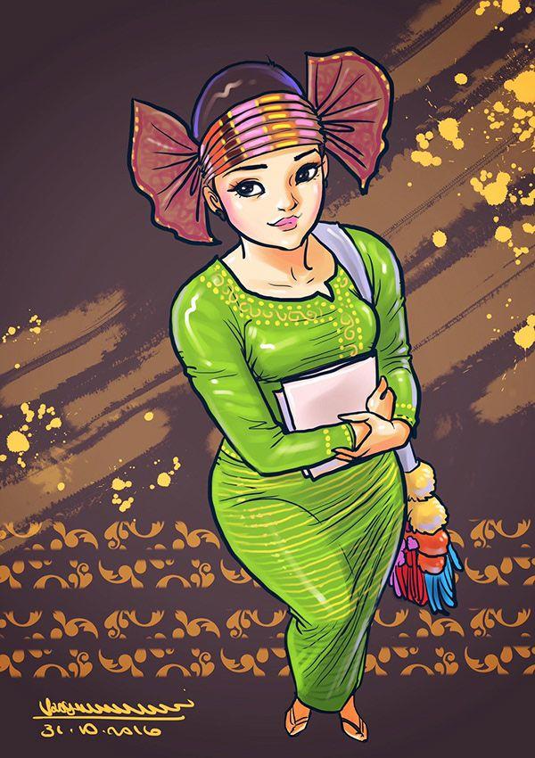 Myanmar lady's on Behance Anime art girl, Art girl, Art