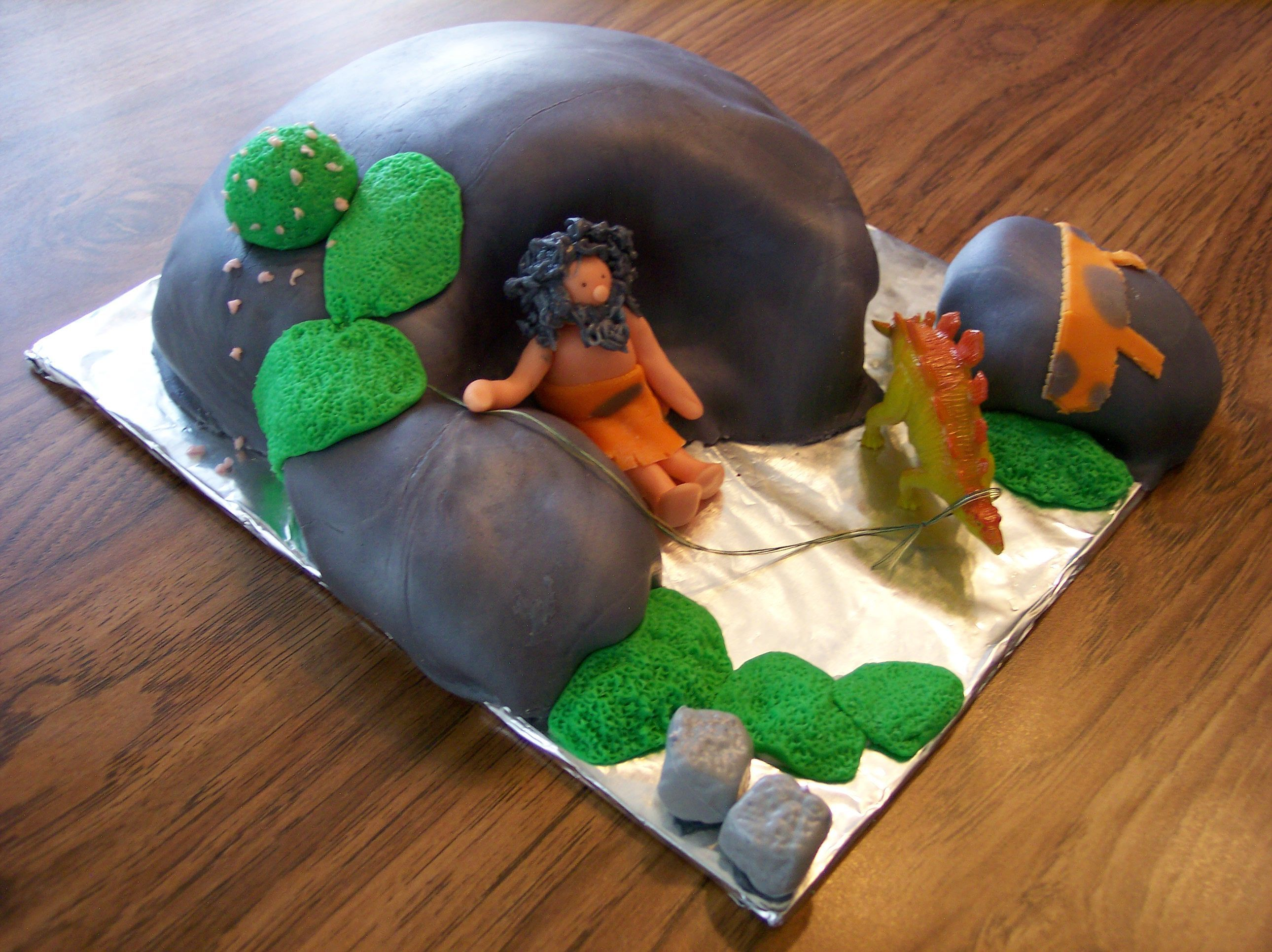 Caveman Rocks : Caveman cake for a 50th birthday. requested because the recipient