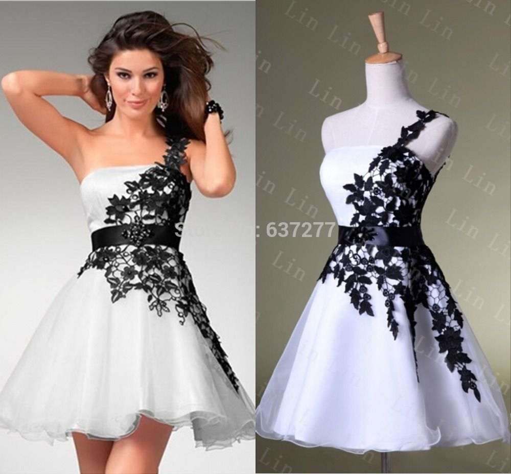 black and white lace one shoulder pageant gown