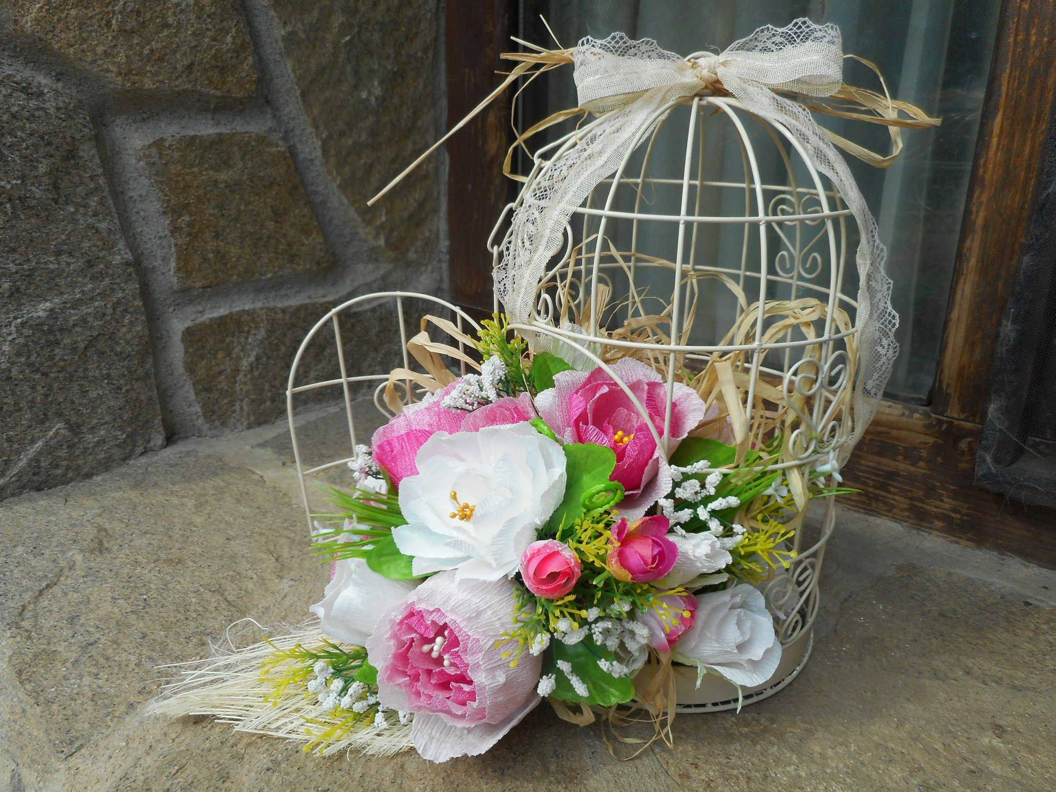 Handmade wedding decorations paper  A handmade cage for wedding with crepe paper flowers Home