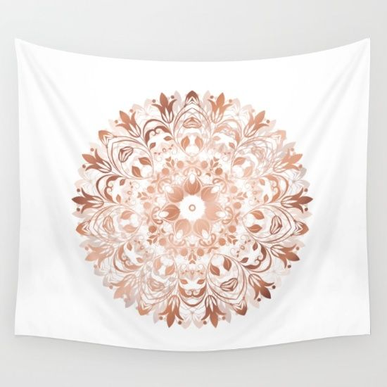 Hip rosegold copper on white background in soft floral shape this elegant mandala enhances positive selfawareness and fits into your dorm or also rh pinterest