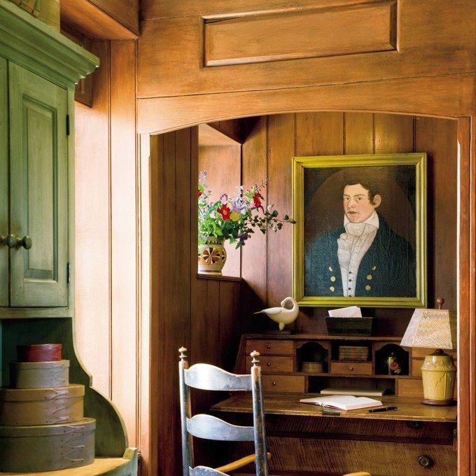 Rustic Office/Library by Bell-Guilmet Associates