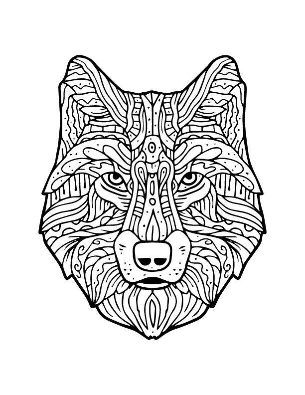 M chant loup imprimer et colorier artherapie adulte animaux and adult coloring - Dessin a imprimer loup ...