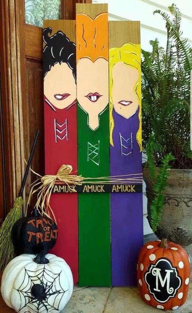 Hocus Pocus Halloween Sign Ebay Halloween Wood Crafts Halloween Outdoor Decorations Pallet Halloween