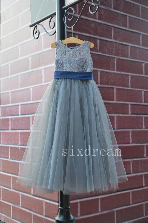 fd550b42b0d Custom order lace and sash bow Flower Girl Dress White by sixdream ...