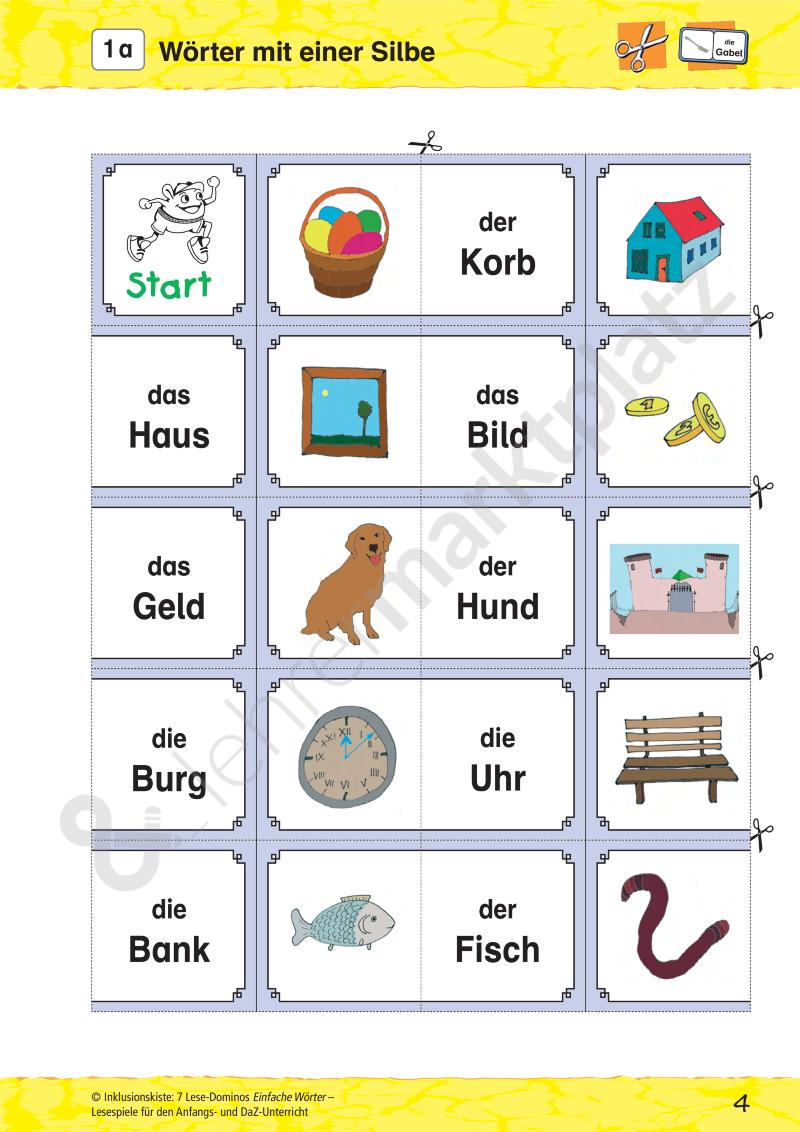 Lese-Domino: Einfache Wörter | Kostenlose Unterrichtsmaterialien ...