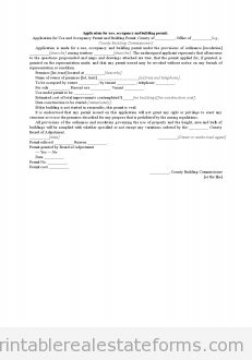 Sample Printable Application For Use Occupancy And Building Permit