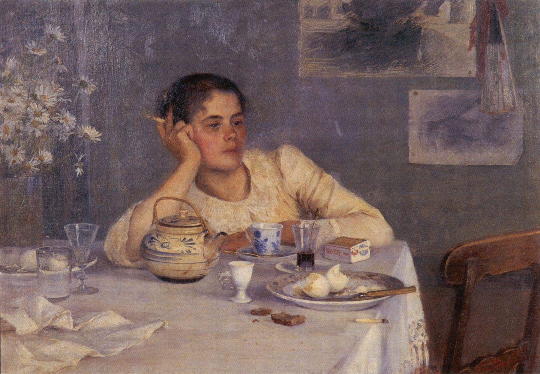 elin kleopatra danielson-gambogi (1861-1919) - aamiaisen jälkeen (after breakfast), oil on canvas, 1890.