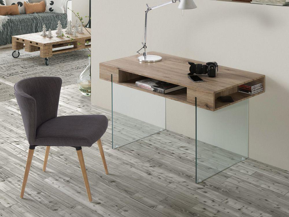 Bureau en en bois décor san remo et pieds en verre niches l cm