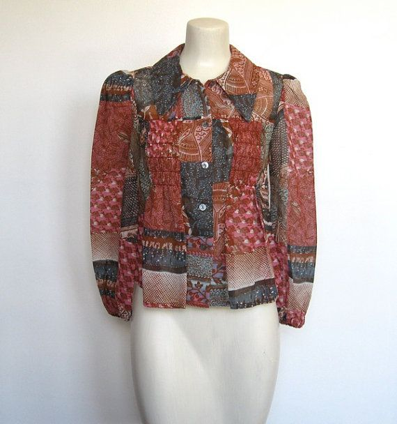 Vintage 1970s 70s One of a Kind Photo Fabric I/'ll Marry You comic cowboy wild west Top Shirt blouse boho Byer California  0 2 4 6 xs s