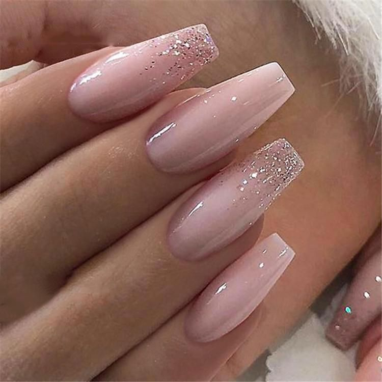 French Nails Glitter Accent Cutefrenchnails Ombre Acrylic Nails Pink Acrylic Nails Fake Nails