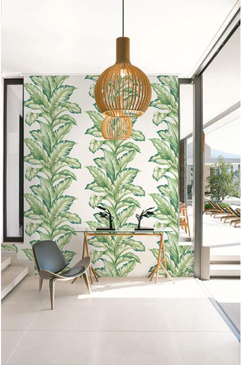 Papier peint tropical Feuille bananier vert – Maui Maui dInitiales | Réf. INI-TP81204