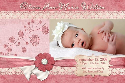 17 Best images about Ariah's Birth Announcement Ideas on Pinterest ...