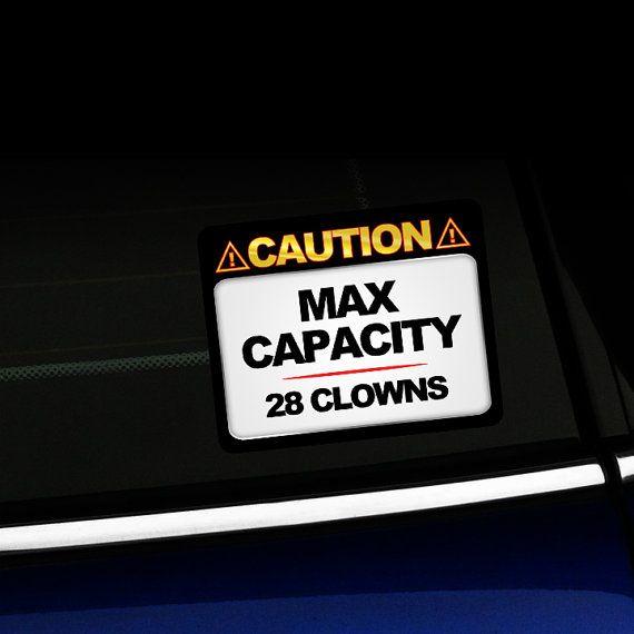 Max Capacity 28 Clowns Funny Mini Cooper Sticker On Etsy 6 00 Mini Cooper Clowns Funny Funny Stickers