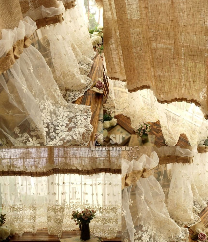 Country ruffled shower curtains - 72 Shabby Rustic Chic Burlap Shower Curtain Lace Ruffles Flower French Country