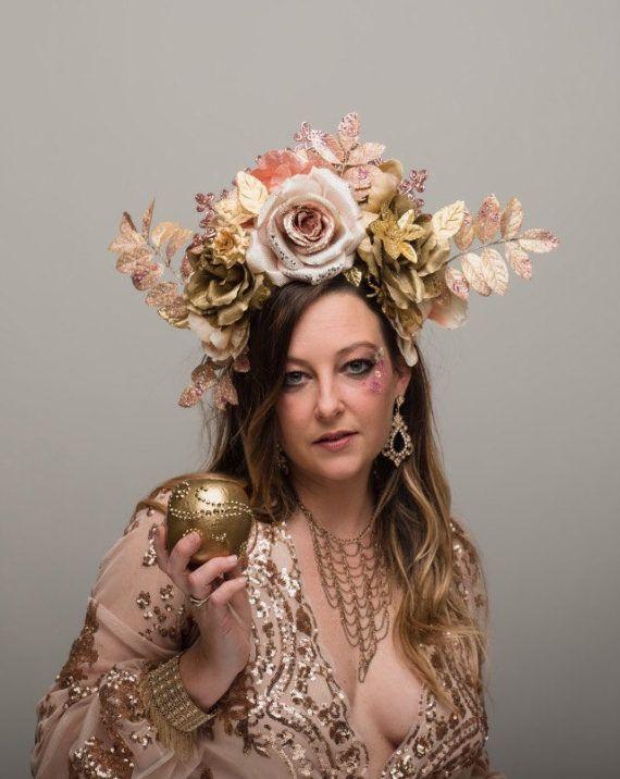 Aphrodite Rose Gold Flower Crown Huge Blush Golden Headdress ... cfa891f0edd