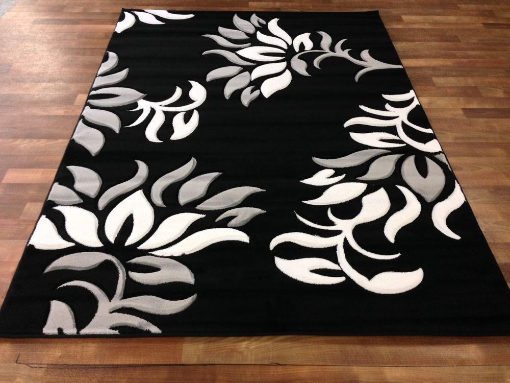 8x11 Modern Vines Area Rug Black White Gray Pattern Room Size