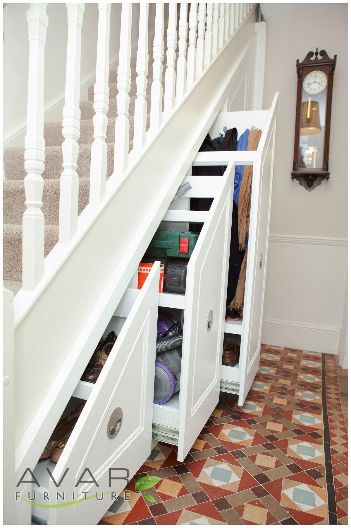 Interior Design Under Stairs Shelving With White Staircase And White Drawers  With Mosaic Flooring And Grey Stair Carpet Also Wooden Stair Fence Design  Foe ...