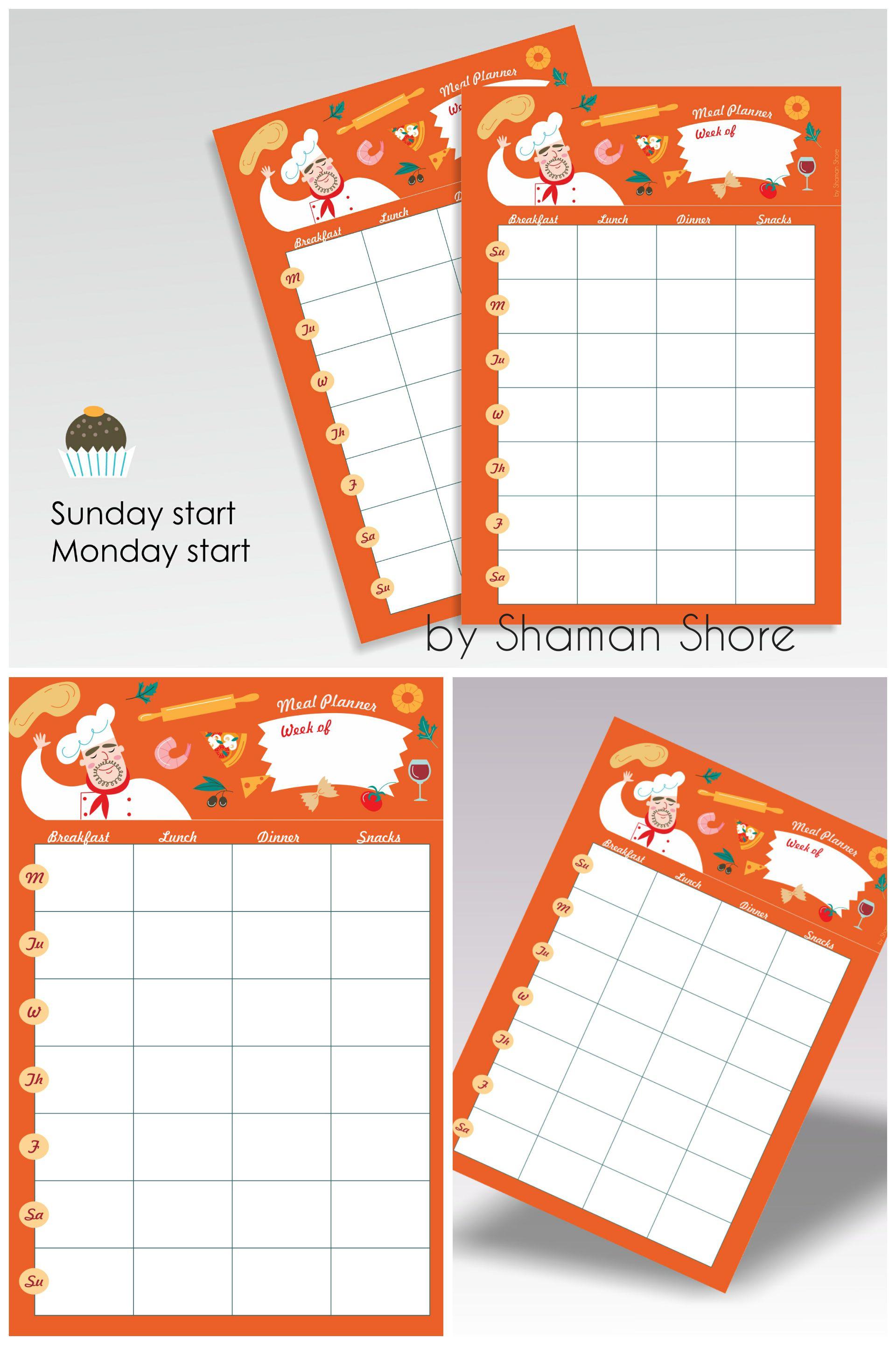 Meal Plan Calendar Template Weekly Meal Planning Template Printable