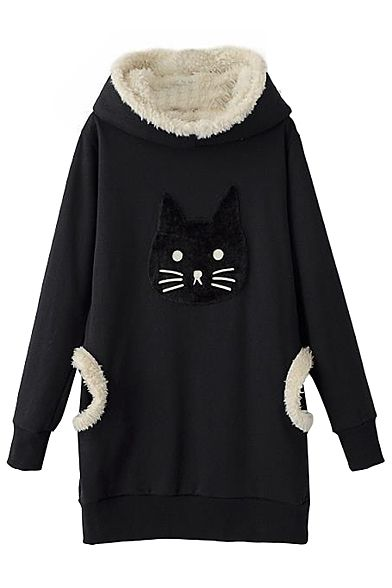 Kitty Head Pattern Fleece Tunic Hooded Pullover with Double Pocket ...