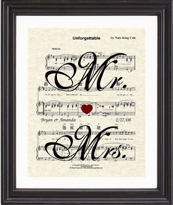 Custom personalized sheet music art favorite song