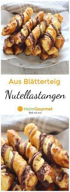 Knusprige Nutellastangen aus Blätterteig