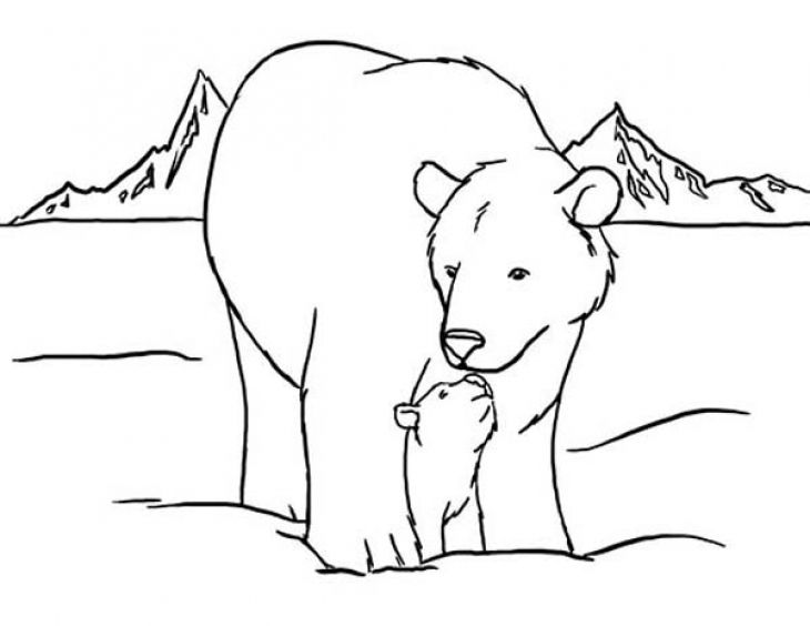 A Polar Bear Mother Taking Care Of Her Baby Coloring Page | Animal ...