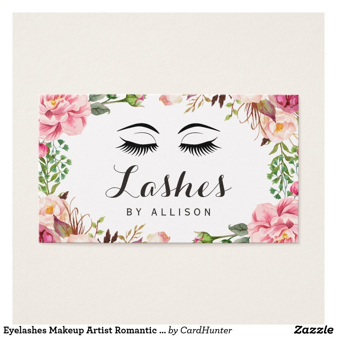Eyelashes Makeup Artist Romantic Floral Wrapping Business Card ...