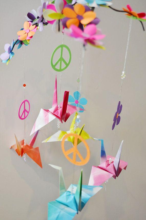 origami crane flower power peace mobile origami cranes