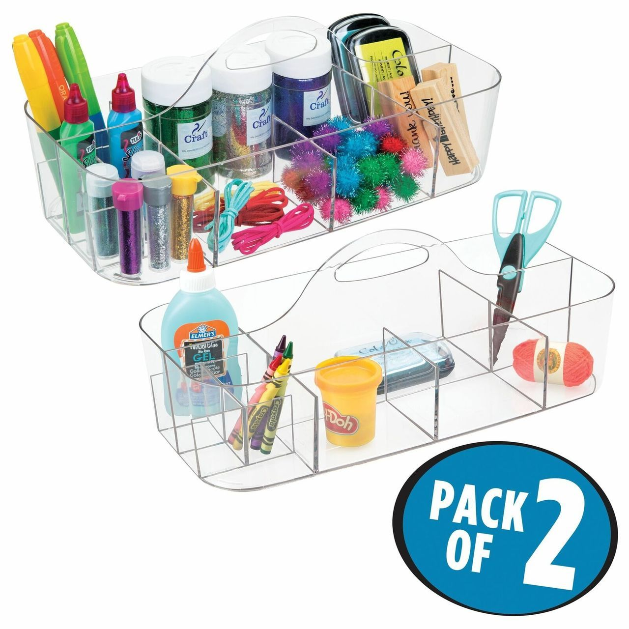 Large Plastic Craft & Sewing Storage Caddy Tote with Handle