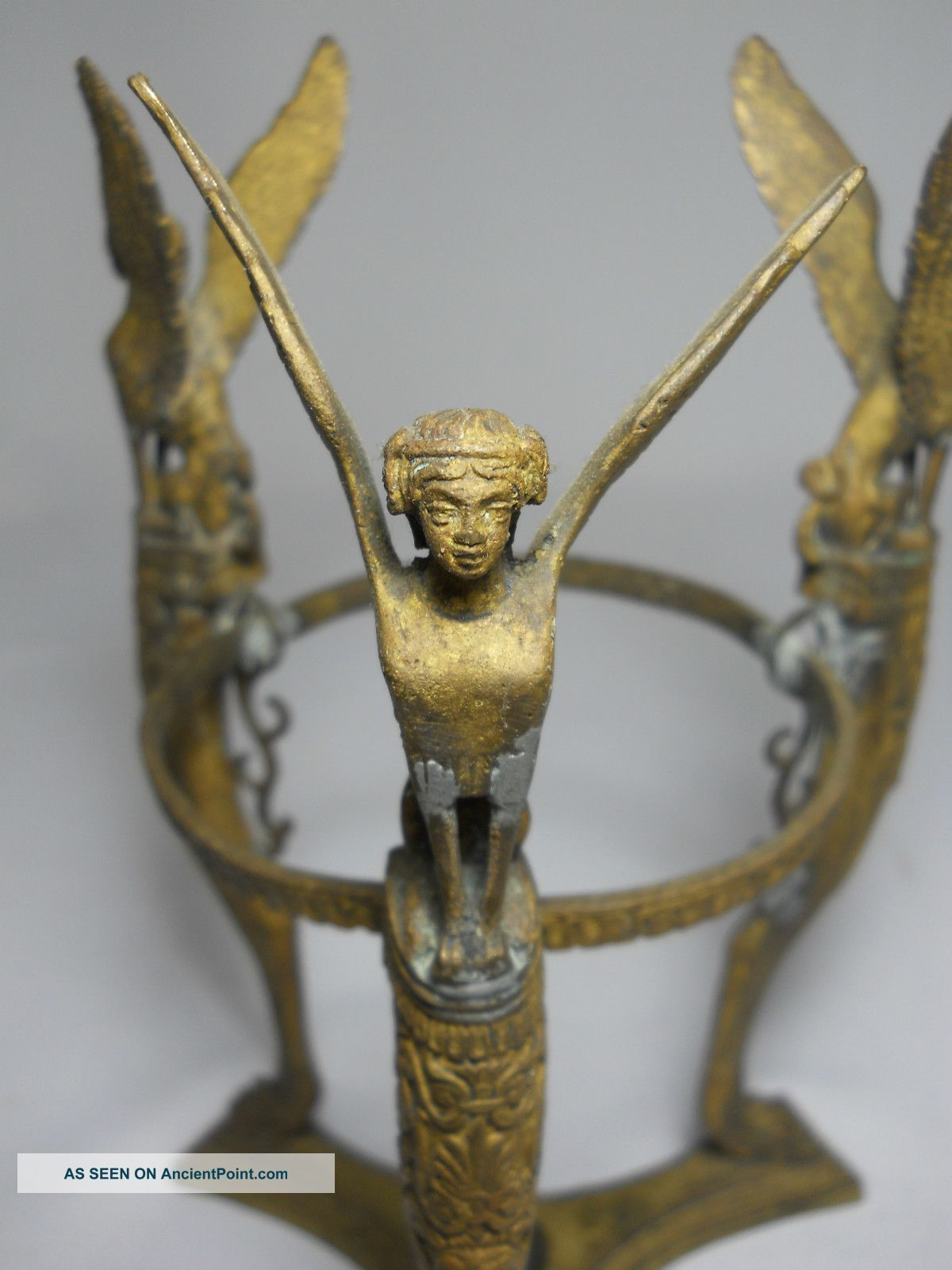Unique Ornate Antique Brass Flying Triple Sphinx Vase Holder Stand - Victorian