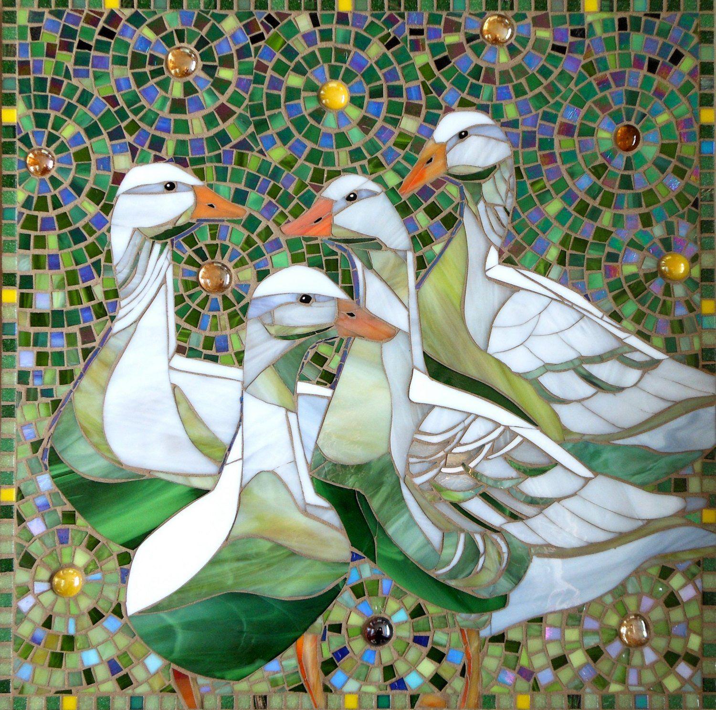 Mosaic Geese Print – Limited Edition Giclee Print – Goose Art – Mosaic Art – Stained Glass Bird – Bird Art – Bird Print