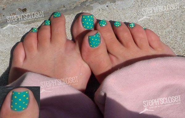 teal nail polish with yellow polka