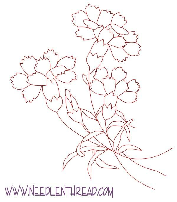 Free Hand Embroidery Pattern: Carnations | Adult and Children\'s ...