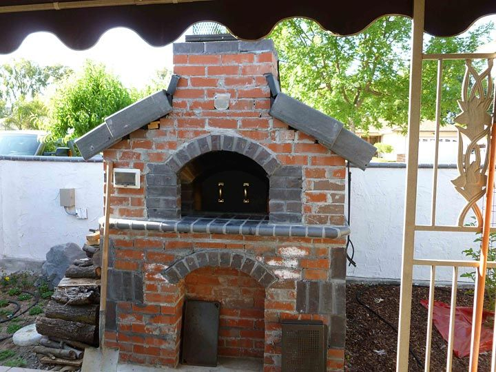 Gas And Wood Fueled Brick Pizza Oven Outside Cooking