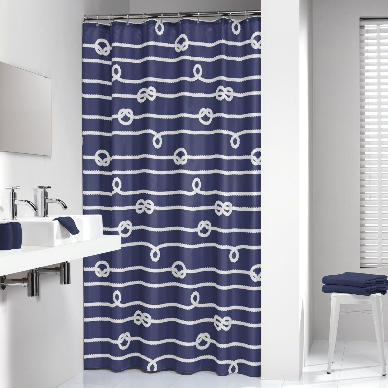 Sealskin Extra Long Shower Curtain 78 X 72 Inch Nautical Rope Blue