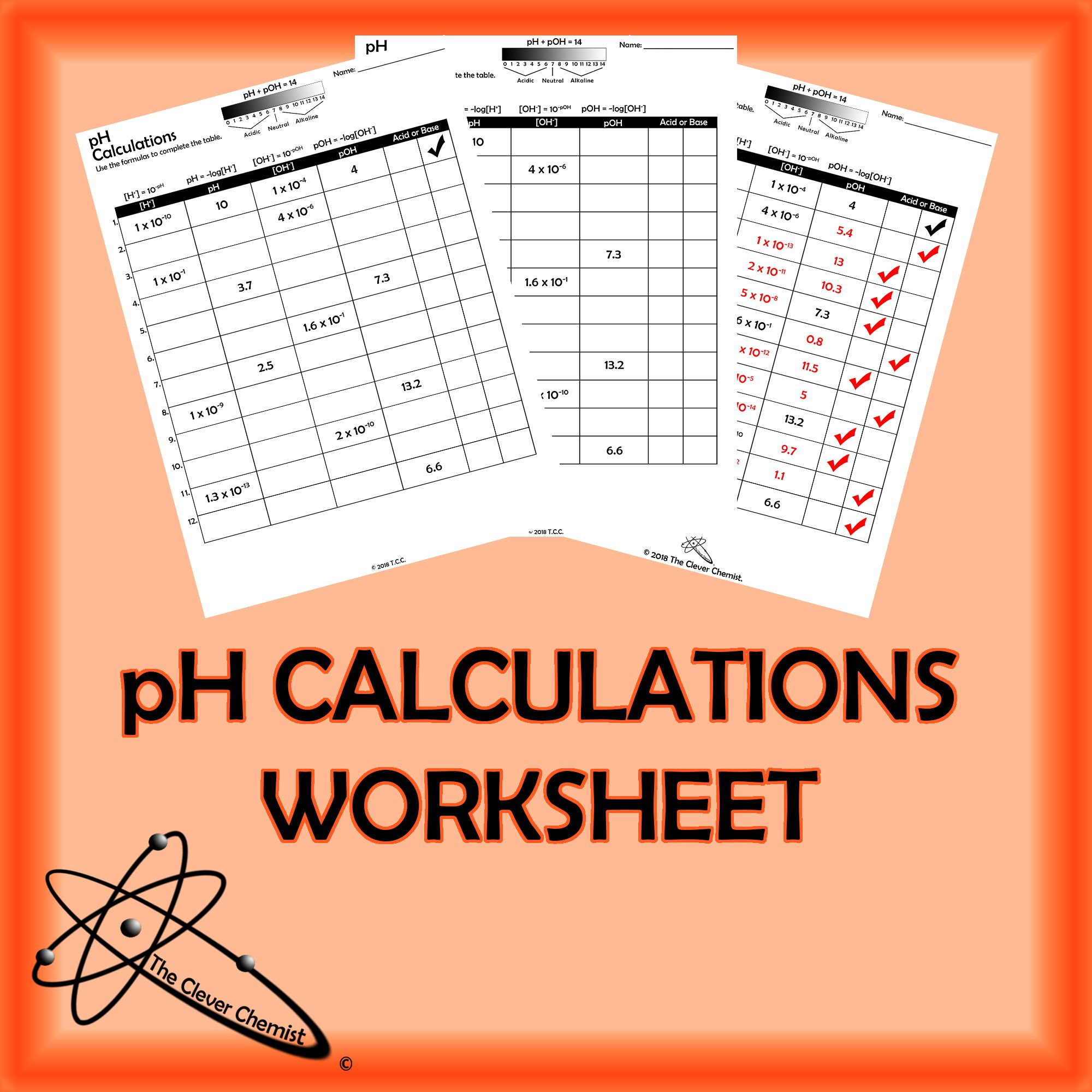 pH Calculation Worksheet | Worksheets, Physical science and Students