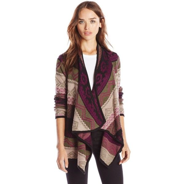 Design History Women's Mixed Graphic Stitch Cozy Cardigan ($34) ❤ liked on Polyvore featuring tops, cardigans, design history cardigan, graphic tops, cardigan top, print cardigan and design history tops