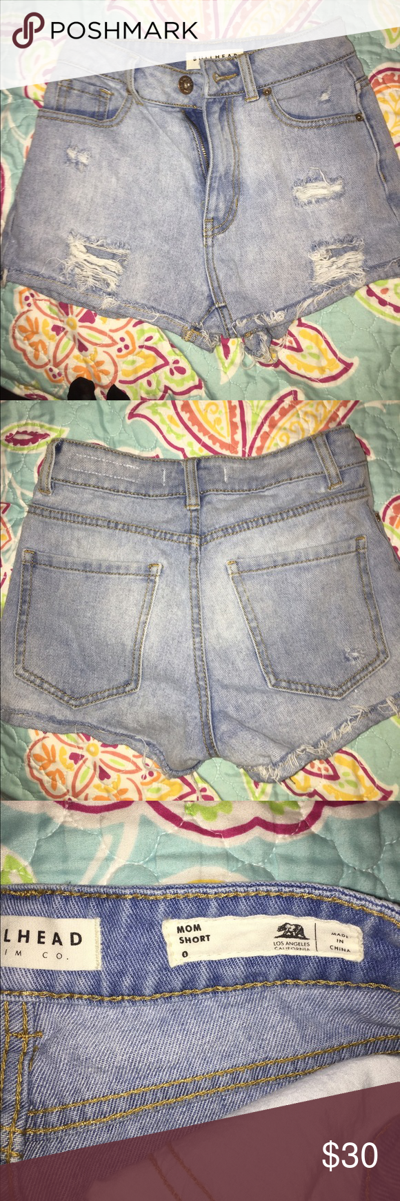 Women's pacsun shorts size 0 These are brand new shorts, I wore them once. They are a women's size 0, light wash destroyed shorts. Very cute for summer, just have too many pairs :) PacSun Shorts Jean Shorts